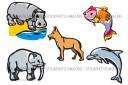 Dog Dolphin Elephant Fish Hippo