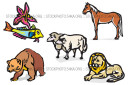 Horse Lion Sheep Bear Fish Starfish Clip Art Illustration