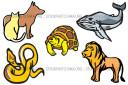 Snake Turtle Dog Cat Lion Whale Vector Clip-Art