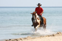 Man Riding Horse in the Water