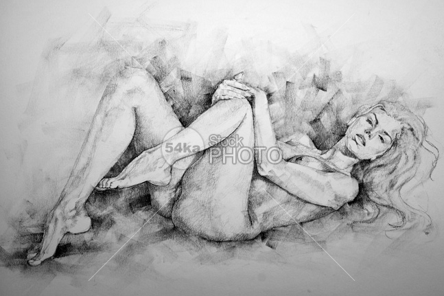 Beautiful girl pencil drawing body pose
