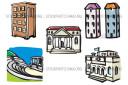 Museums Neighborhoods Organizations Parliament Performances Buildings Vector Images