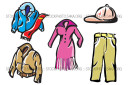 Leather Mystery Outerwear Pants Polyester Clothes Vector Art