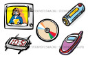 Batteries Broadcasts CDs Cell phones Digital Electronics Vector Illustration