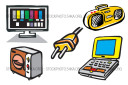 Electric Electronics HDTV Laptops Microwaves Electronics Vector Images