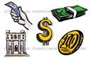 Banks Buy Coins Currencies Finances Finance Vector Illustration