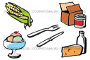 Consumer Goods Corn Cutlery Dairy Desserts Food mini vector pack