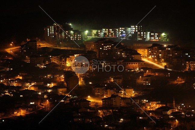 Night Shot of Veliko Tarnovo Urban Scene Twilight Traffic town skyline sky photography panorama Night Sky night metropolis long exposure horizontal downtown darkness cityscape City Of Veliko Tarnovo city bulgaria Building Exterior 54ka StockPhoto