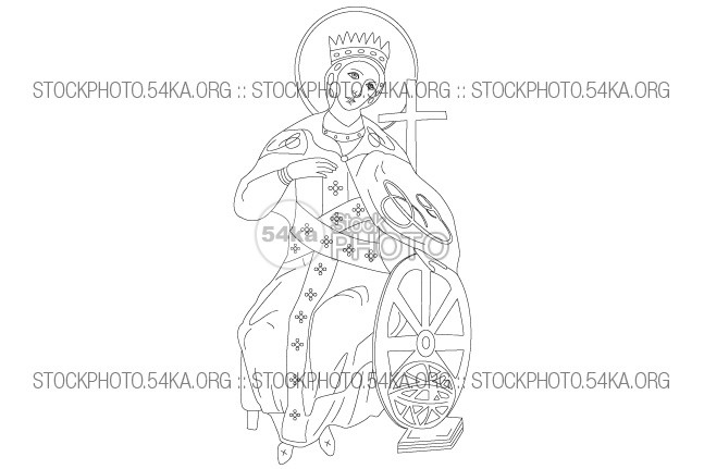 Saint Catherine Icon Vector Art Illustration vintage Vector Art Vector traditional symbol St. Catherine st. catherina Saint Catherine saint catherina saint religion Picture outline isolated image illustration icon history Decoration Catherine Art 54ka StockPhoto