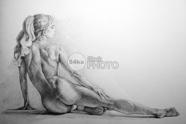 Women on one side lying classic pose pencil drawing young adult young women woman white background