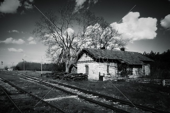 Train track house black and white photo stock photo for Old house tracks