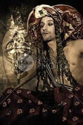 Fairy Tale Aladdin Fantasy Hero Smoke portrait mystical man Male magical Magic lamp Hero golden gold Fantasy Hero fantasy fairytale Fairy Tale expression dress Clothing aladin aladdin 54ka StockPhoto