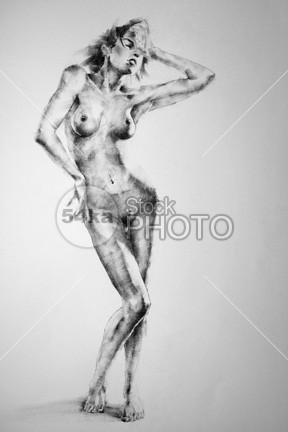 Drawing Standing Female Full Body Pose Young Women women woman texture Style Standing pose drawing Pose pencyl sketck pencil paper painting style girl Full Body female Drawing Female drawing charcoal black b&w 54ka StockPhoto