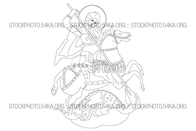 Saint George Vector Icon Illustration vintage Vector traditional symbol spear Saint George saint religion Picture outline medieval isolated image illustration icon horse history george dragoon dragon Decoration Art antique animal 54ka StockPhoto