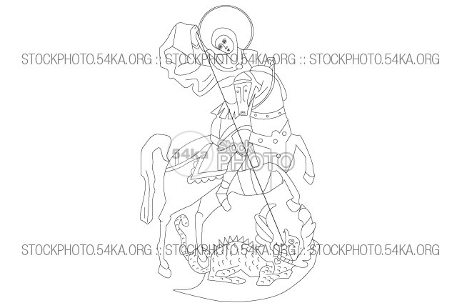 Saint George Vector Art Icon vintage Vector Art Vector traditional symbol St. George spear Saint George saint religion Picture outline medieval isolated image illustration icon horse history george dragoon dragon Decoration Art antique animal 54ka StockPhoto