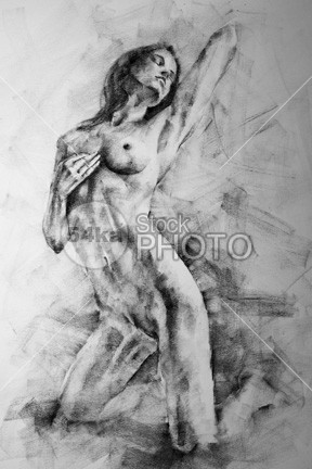 drawing female sensual classic pose classical art drawing 54ka