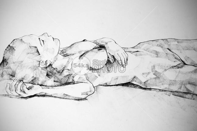 Lying Girl Charcoal Close Up Body Drawing Classical Art Drawing 54ka Stockphoto