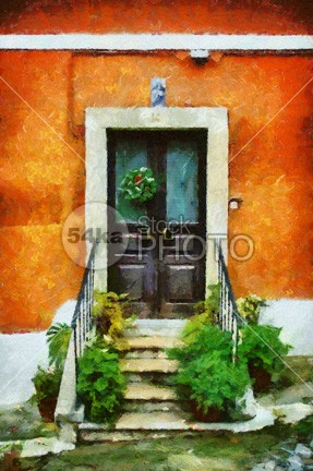 The Door wall vibrant town shut shapes red painting painted orange old oil on canvas modern mediterranean lovely knob impressionism home historical handle glazed front flower Fine Art expressionism exit entrance enter doorway door cyan creative colourful colour color Closed close canvas bright brick blue artistic artist Art architecture ancient acrylic access abstract expressionism abstract 54ka StockPhoto