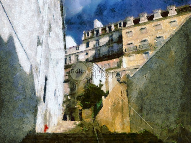 Old stairs in Lisbon urban tourism street stairs portugal People path painting old oil nobody narrow monument lisbon lisboa houses historic fado exterior european europe escadinhas empty drawing downtown district cobblestone cityscape city canvas building balconies background Art architecture antique ancient alfama 54ka StockPhoto
