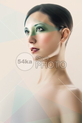 Fashion Beauty Portrait young woman white vogue touching toned Skin portrait model makeup make lady isolated girl Fashion face elegant elegan cosmetic coloring color closeup close clean cheek Caucasian care camera brunette brown bright blue beauty beautiful background attractive adult 54ka StockPhoto