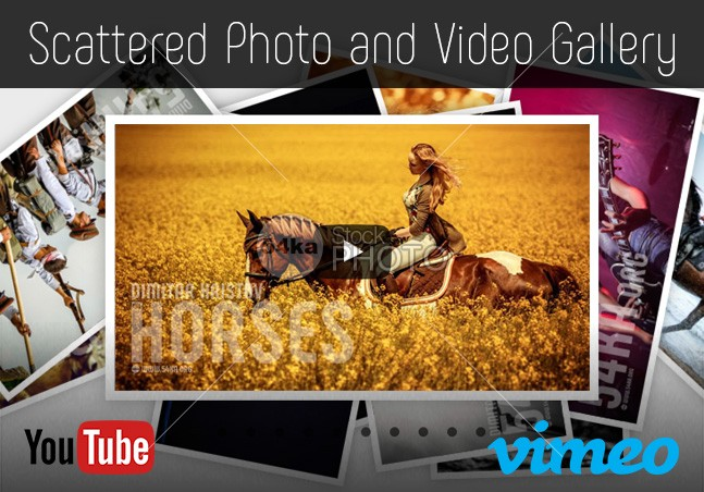 Scattered Photo and Video Gallery – JavaScript  /  jQuery – YouTube and Vimeo Gallery YouTube Vimeo video straight Scattered Polaroids Gallery Scattered Responsive random preview polaroid play pictures php photo gallery photo Motion js jQuery JavaScript info images image gallery HTML gallery free flat design 3D Scattered 54ka StockPhoto